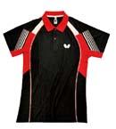 Butterfly蝴蝶 专业乒乓球服 运动短袖 BWH262-0201 黑红