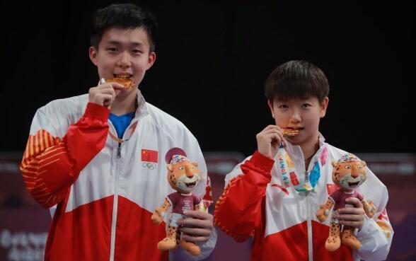 青奥会乒乓球比赛男女单打王楚钦,孙颖莎双双争夺
